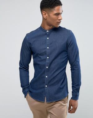 ASOS Темная джинсовая рубашка скинни с воротником на пуговице. Цвет: темно-синий