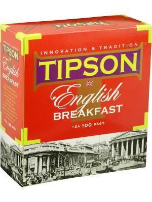 Чай Tipson Английский завтрак 100 пакетиков, 1 КАРТОННАЯ ПАЧКА. Цвет: красный