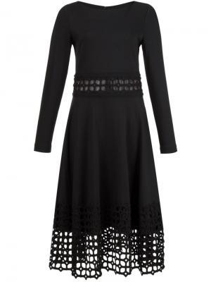 Платье с вышитыми деталями Lela Rose. Цвет: чёрный
