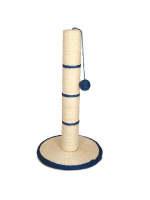 Когтеточка Столбик с шариком, d350x620мм. TRIOL. Цвет: бежевый, синий