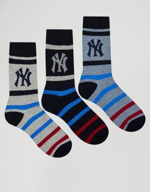 New York Yankees Набор из 3 пар носков NYY. Цвет: синий