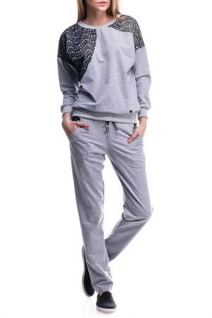 Костюм: кофта и брюки Majaly. Цвет: серый