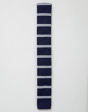 7X Вязаный галстук в полоску. Цвет: темно-синий