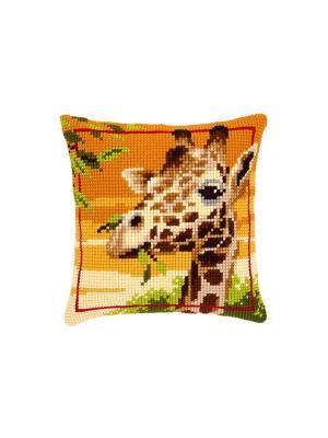 Набор для вышивания лицевой стороны наволочки Жираф 40*40см Vervaco. Цвет: бежевый, оранжевый, коричневый