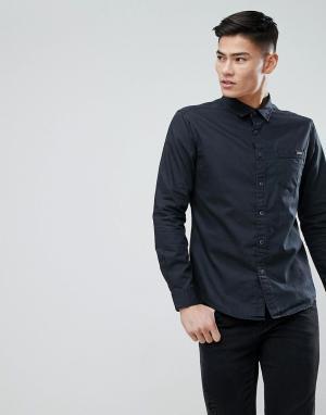 Esprit Черная джинсовая рубашка с покрытием. Цвет: черный