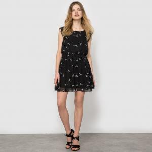 Платье с короткими рукавами MOLLY BRACKEN. Цвет: белый/синий рисунок,темно-синий/оранжевый,черный/белый рисунок