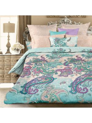 Комплект постельного белья Евро биоматин Ламберти Унисон. Цвет: морская волна, бирюзовый