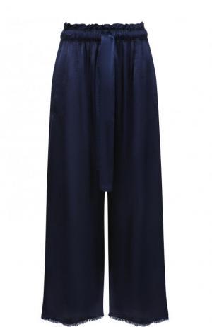 Укороченные однотонные брюки из вискозы Raquel Allegra. Цвет: темно-синий