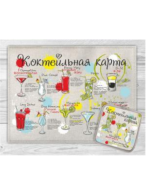 Набор кухонный Коктейльная карта GrandStyle. Цвет: черный, оливковый, красный, желтый
