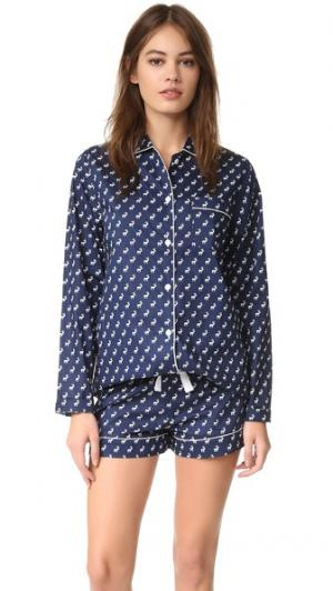 Пижама с шортами Phoebe Three J NYC. Цвет: темно-синий/белый олень