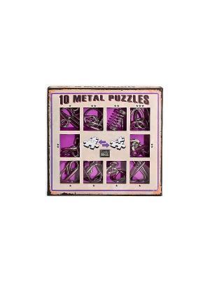 Набор из 10 металлических головоломок (фиолетовый) Eureka! 3D Puzzle. Цвет: серебристый