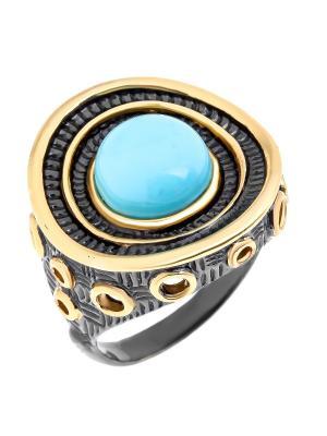 Кольцо Балтийское золото. Цвет: черный, бирюзовый