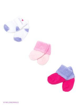 Носочки (3 пары) Luvable Friends. Цвет: сиреневый, розовый, белый