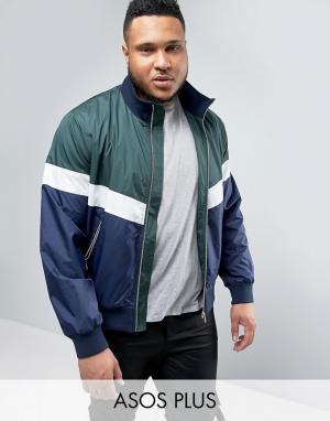 ASOS Спортивная куртка колор блок на молнии PLUS. Цвет: зеленый