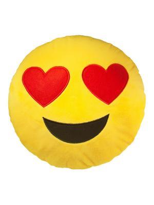 Большая подушка-смайлик Люблю 35 см SOXshop. Цвет: желтый