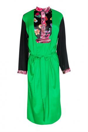Зеленое платье с длинными рукавами Duro Olowu. Цвет: зеленый