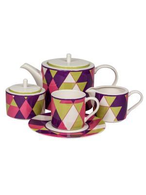 Сервиз чайный 17 пр. на 6 персон Минотти фиолетовый Royal Porcelain. Цвет: молочный