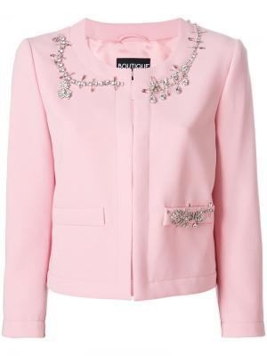 Пиджак декорированный кристаллами Boutique Moschino. Цвет: розовый и фиолетовый