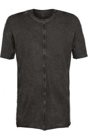 Хлопковая футболка с круглым вырезом Isaac Sellam. Цвет: темно-серый