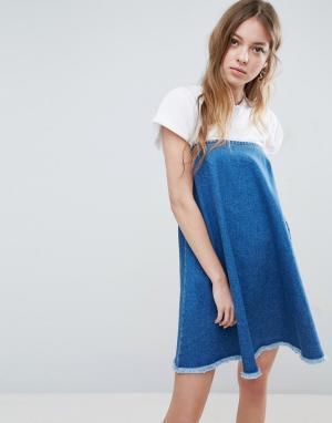 ASOS Выбеленное синее джинсовое платье без бретелек с необработанным краем. Цвет: синий