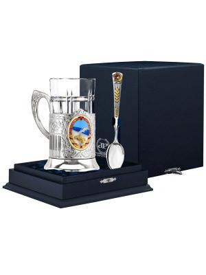 Набор д/чая Дорожник (подстаканник посеребр+хрустальный стакан+серебряная ложка)+футляр АргентА. Цвет: серебристый, золотистый