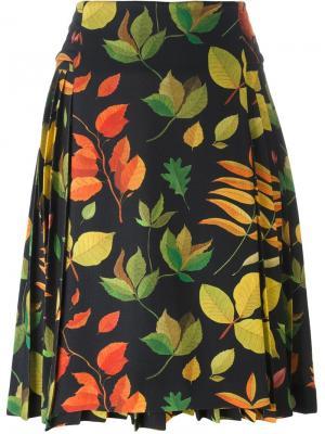 Leaf print a-line skirt Arthur Arbesser. Цвет: чёрный