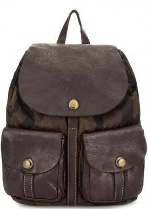 Текстильный рюкзак с одним отделом Campomaggi. Цвет: хаки