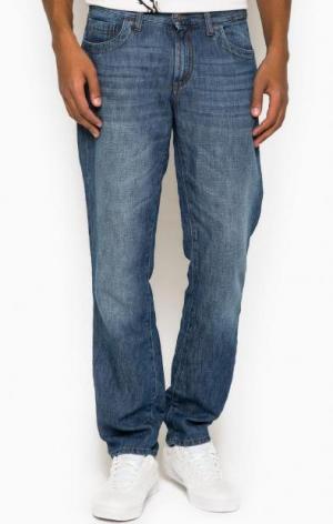 Прямые джинсы с заломами BIKKEMBERGS. Цвет: синий