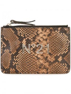 Клатч с логотипом Nº21. Цвет: коричневый