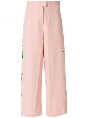 Укороченные брюки с цветочной вышивкой Vivetta. Цвет: розовый и фиолетовый