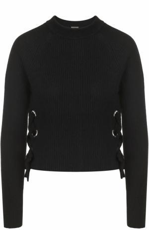 Кашемировый пуловер фактурной вязки со шнуровкой FTC. Цвет: черный