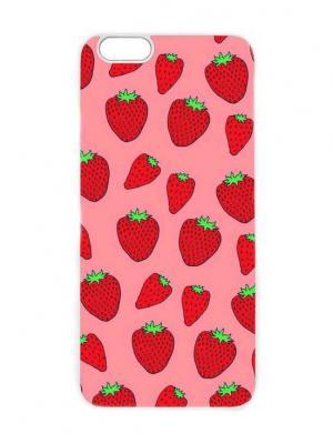 Чехол для iPhone 6 Клубничный принт Chocopony. Цвет: красный, бежевый, бледно-розовый