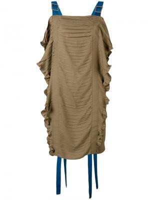 Платье со сборками Marco De Vincenzo. Цвет: зелёный