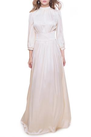 Длинное платье с высоким воротом MARICHUELL. Цвет: жемчужный
