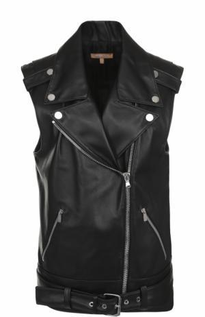 Кожаный жилет прямого кроя с косой молнией Michael Kors. Цвет: черный