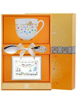 Набор детский Ландыш-Горошек (чашка + ложка 925 пр. рамка для фото футляр) АргентА. Цвет: серебристый