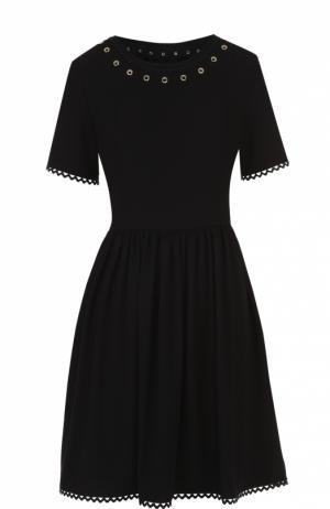 Приталенное мини-платье с декоративной отделкой Kenzo. Цвет: черный