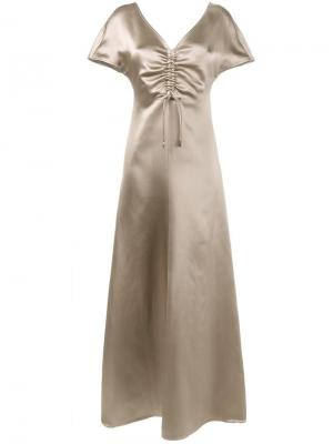 Длинное платье с присборенной отделкой Barbara Casasola. Цвет: телесный