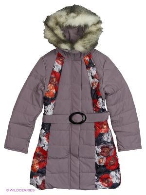 Пальто для девочки Диана Disvey. Цвет: темно-красный, красный, темно-бордовый