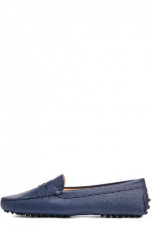 Кожаные мокасины Gommini с перемычкой Tod's. Цвет: темно-синий