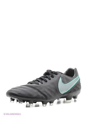 Бутсы TIEMPO LEGACY II FG Nike. Цвет: антрацитовый, бирюзовый, черный