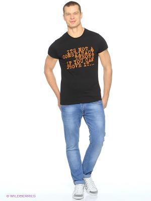 Футболка Jeunmar. Цвет: черный, оранжевый