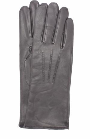 Кожаные перчатки с подкладкой из шерсти Agnelle. Цвет: темно-серый