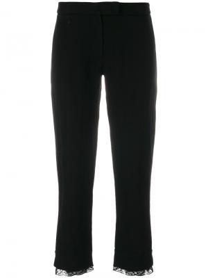 Укороченные брюки с кружевной отделкой Ann Demeulemeester. Цвет: чёрный