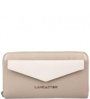 Серый кошелек из сафьяновой кожи Lancaster. Цвет: серый