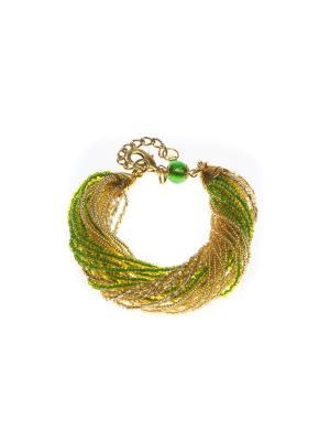 Браслет бисерный, 24 нитей, цвет 23 Bottega Murano. Цвет: светло-зеленый, золотистый