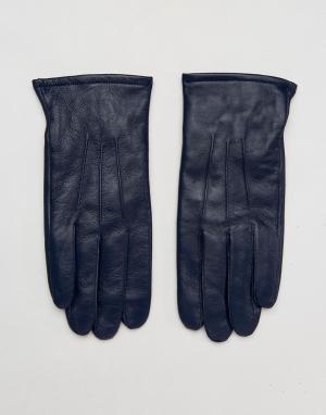 ASOS Темно-синие кожаные перчатки. Цвет: темно-синий