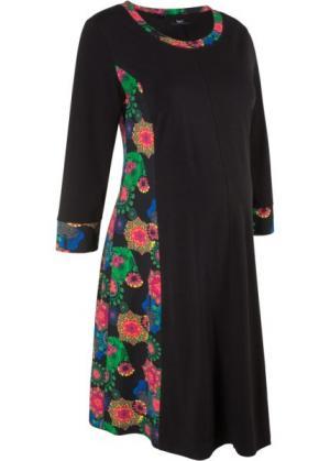 Платье для беременных, рукав 3/4 (черный с рисунком) bonprix. Цвет: черный с рисунком