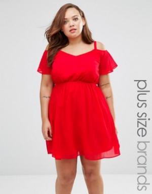 Praslin Короткое приталенное платье с открытыми плечами Plus. Цвет: красный