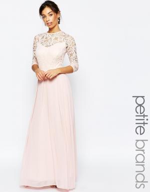 John Zack Petite Платье макси с рукавами 3/4 и кружевным топом. Цвет: розовый